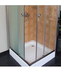 Ανοξείδωτη Ντουζιέρα Συρόμενη Δίφυλλη Γωνιακή με δύο σταθερά κρύσταλλα Velvet Glass